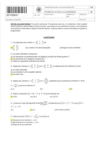 Exámenes De Ebau De Matemáticas Aplicadas A Las Ciencias Sociales De La Uned Descargar Exámenes Resueltos De Ebau Evau Paeu Y Selectividad
