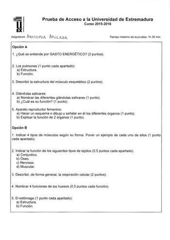 Exámenes De Ebau De Anatomía Aplicada Descargar Exámenes Resueltos De Ebau Evau Paeu Y Selectividad