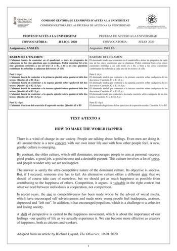 Exámenes De Pau De Inglés De La Comunidad Valenciana Descargar Exámenes Resueltos De Ebau Evau Paeu Y Selectividad